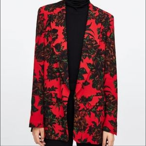New Zara red floral blazer, size Medium.